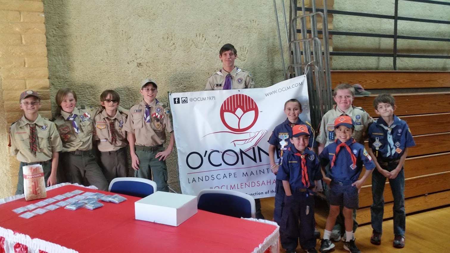 Cub Scouts with OConnell Banner